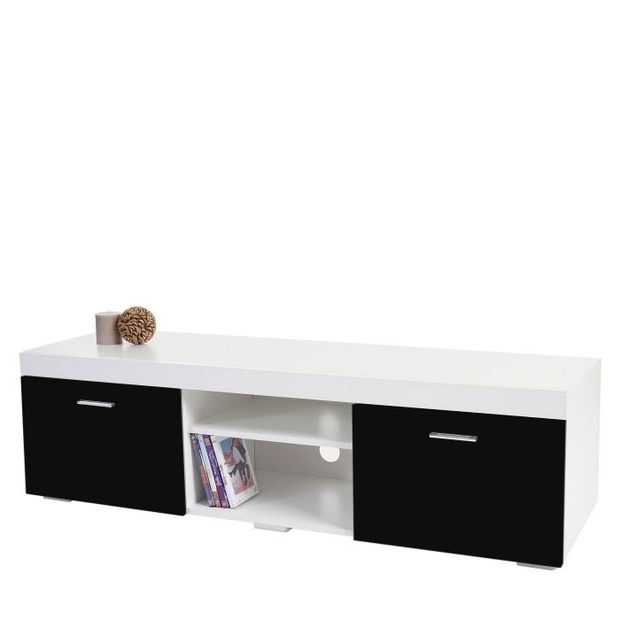 tv rack portland fernsehtisch lowboard hochglanz 140x40x40cm schwarz. Black Bedroom Furniture Sets. Home Design Ideas