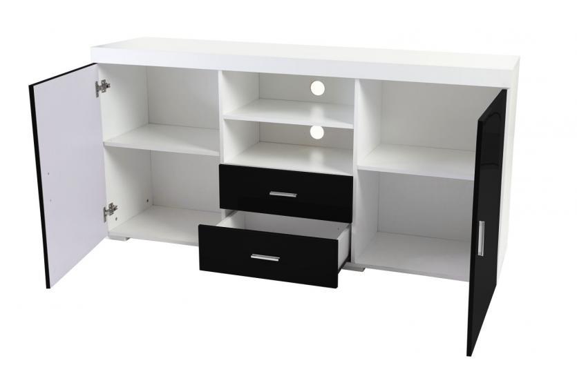 kommode portland sideboard highboard hochglanz 160x80x40cm schwarz. Black Bedroom Furniture Sets. Home Design Ideas