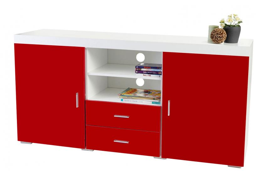 highboard winslow kommode sideboard hochglanz 160x80x40cm rot ebay. Black Bedroom Furniture Sets. Home Design Ideas