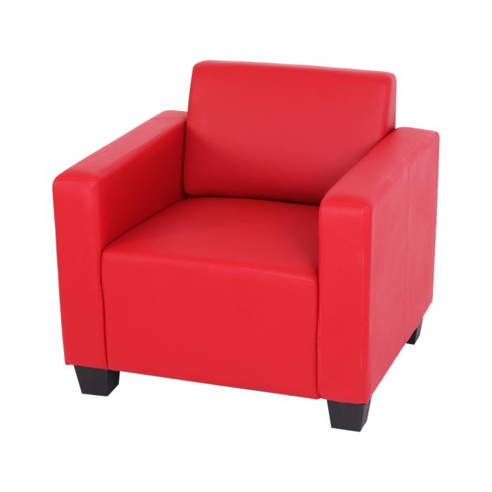 Modular sessel loungesessel mit ottomane lyon kunstleder for Sessel in rot