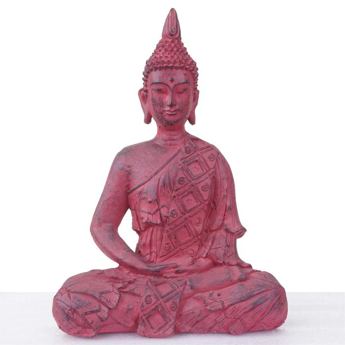 xl deko figur buddha 39cm polyresin skulptur in outdoor sitzend rot. Black Bedroom Furniture Sets. Home Design Ideas