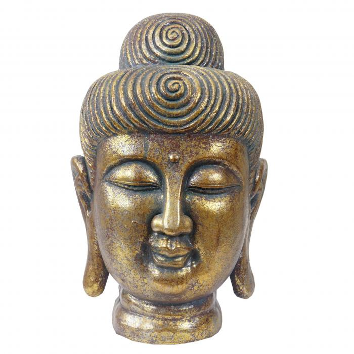 xl deko figur buddha 38cm polyresin skulptur kopf in outdoor gold. Black Bedroom Furniture Sets. Home Design Ideas