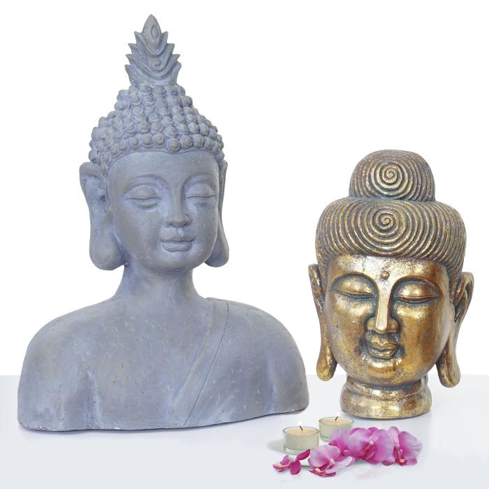 2er set deko figur buddha 38cm 60cm polyresin skulptur in outdoor. Black Bedroom Furniture Sets. Home Design Ideas