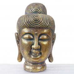 XL Deko Figur Buddha 38cm, Polyresin Skulptur Kopf, In-/Outdoor gold