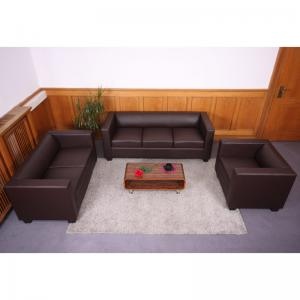 3-2-1 Sofagarnitur Couchgarnitur Loungesofa Lille ~ Kunstleder, coffee