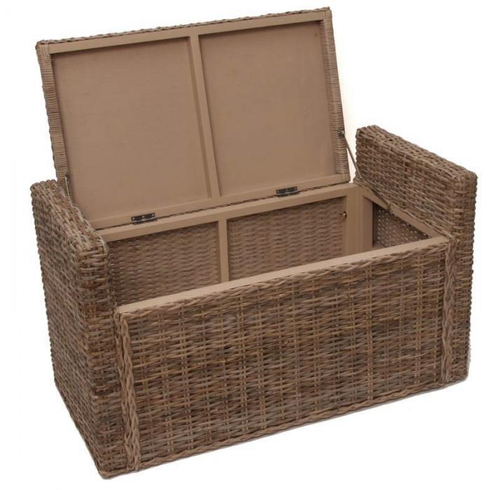 sitzbank sitzhocker m92 rattan mit stauraum und kissen 88cm kubu grau. Black Bedroom Furniture Sets. Home Design Ideas