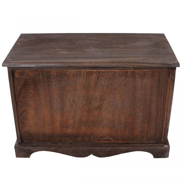sitzbank kommode mit 2 k rben 42x62x33cm shabby look vintage braun. Black Bedroom Furniture Sets. Home Design Ideas