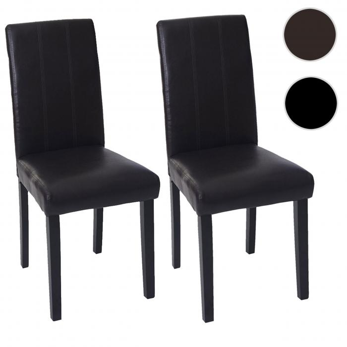 2x esszimmerstuhl florina stuhl lehnstuhl kunstleder braun dunkle beine. Black Bedroom Furniture Sets. Home Design Ideas