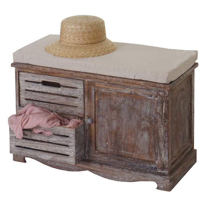 sitzbank ascoli bank kommode shabby look vintage 49x71x32cm braun. Black Bedroom Furniture Sets. Home Design Ideas