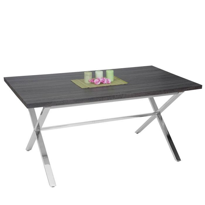 esszimmertisch fano tisch esstisch edelstahl 3d struktur 160x90cm dunkle eiche optik. Black Bedroom Furniture Sets. Home Design Ideas
