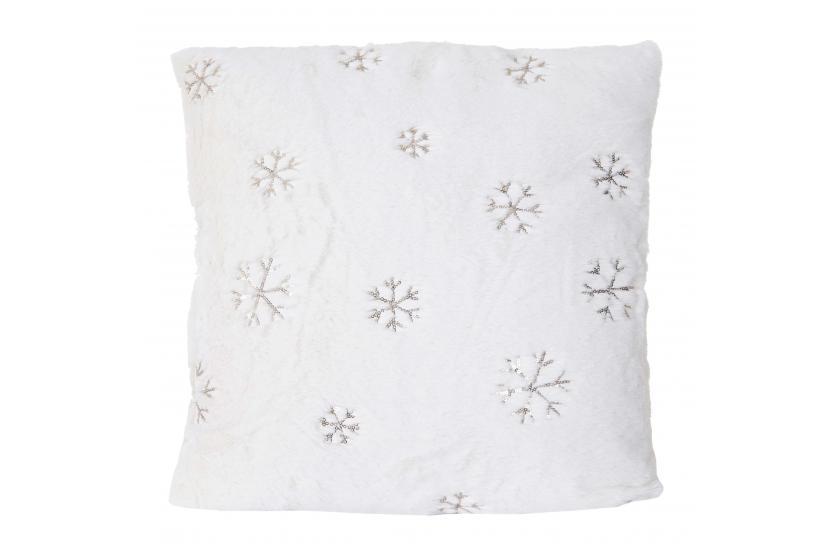 deko kissen schnee sofakissen zierkissen mit f llung wei pailletten 45x45cm ebay. Black Bedroom Furniture Sets. Home Design Ideas