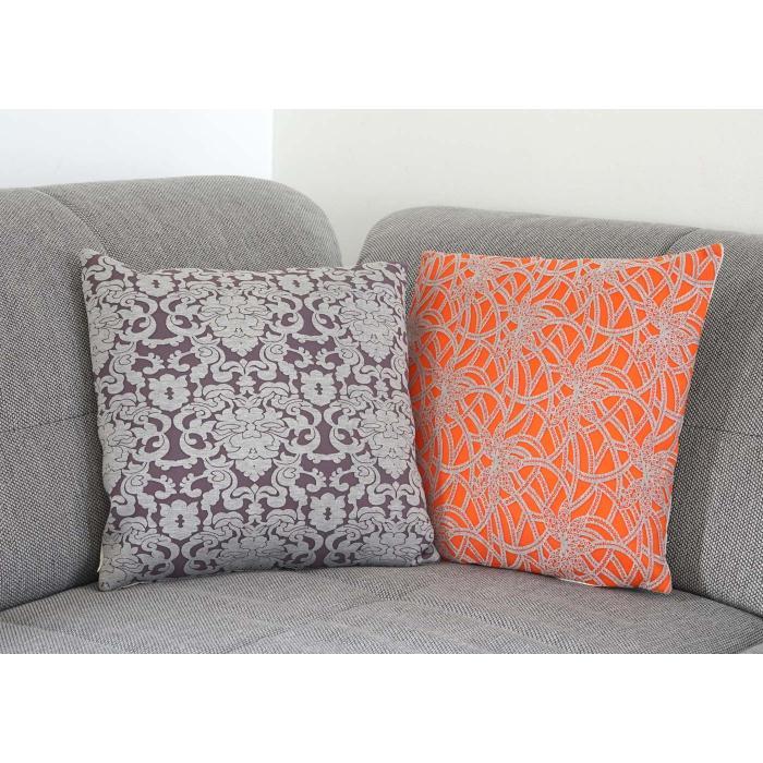 2er set deko kissen barock blumen sofakissen zierkissen mit f llung 45x45cm. Black Bedroom Furniture Sets. Home Design Ideas