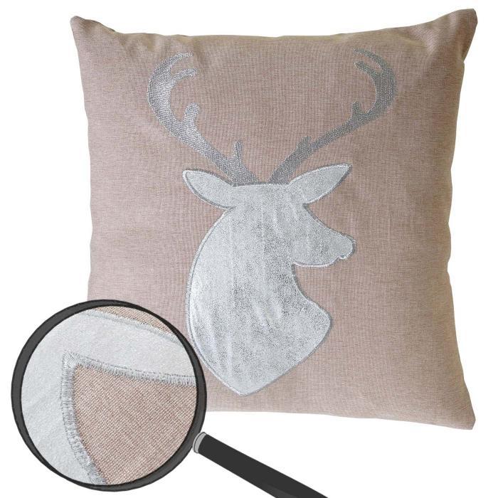 deko kissen hirsch sofakissen zierkissen mit f llung braun glanz effekt 45x45cm. Black Bedroom Furniture Sets. Home Design Ideas
