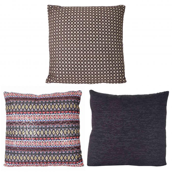 3er set deko kissen gold schwarz bunt sofakissen zierkissen mit f llung 40x40cm. Black Bedroom Furniture Sets. Home Design Ideas