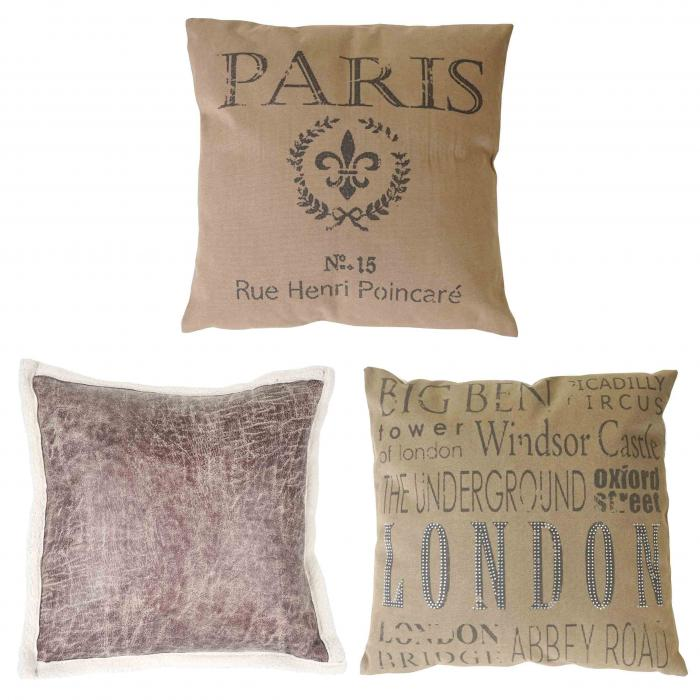3er set deko kissen london paris wildlederimitat sofakissen zierkissen mit f llung 45x45cm. Black Bedroom Furniture Sets. Home Design Ideas