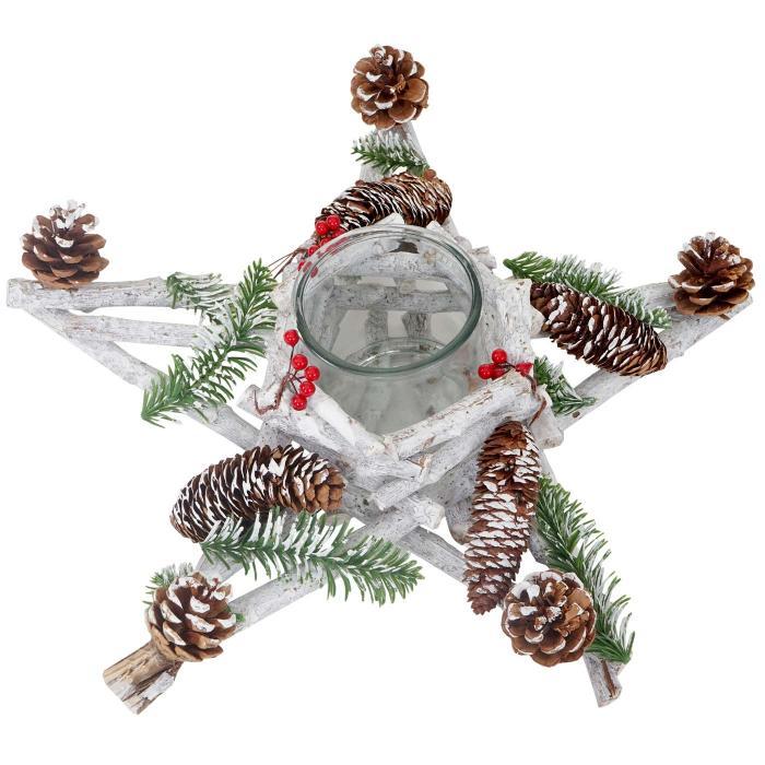 adventskranz stern weihnachtsdeko tischdeko holz mit kerzenglas 40x40x12cm wei grau. Black Bedroom Furniture Sets. Home Design Ideas