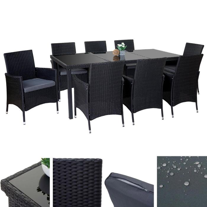 poly rattan garnitur terni garten sitzgruppe tisch 8 sessel alu anthrazit kissen grau. Black Bedroom Furniture Sets. Home Design Ideas