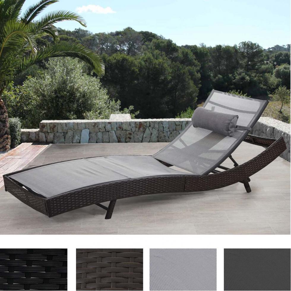 Sonnenliege Savannah, Relaxliege Gartenliege Liege, Poly-Rattan ~ anthrazit, Bezug schwarz