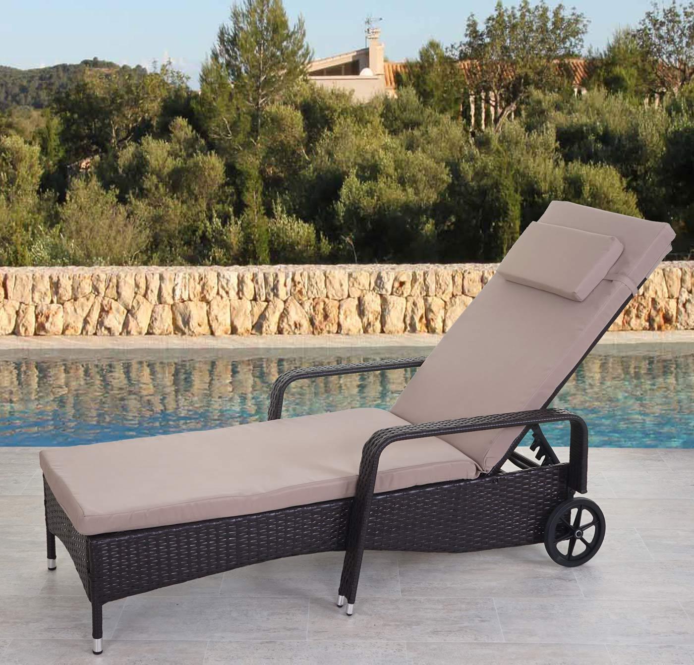 poly rattan sonnenliege cesena relaxliege alu braun kissen beige ebay. Black Bedroom Furniture Sets. Home Design Ideas