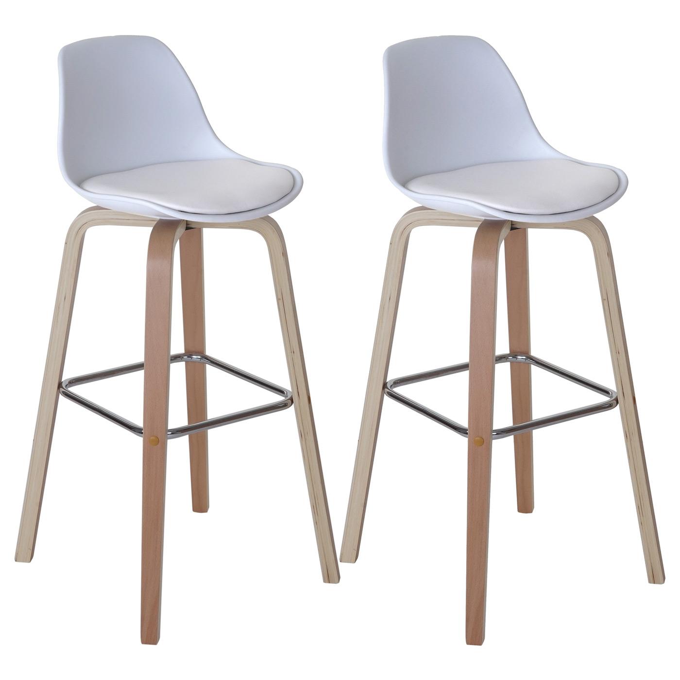 2x barhocker lancaster barstuhl tresenhocker mit lehne kunstleder wei ebay. Black Bedroom Furniture Sets. Home Design Ideas