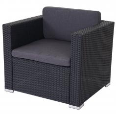 Modulares Poly-Rattan Sofa ROM Basic, Sessel Loungesessel, Alu ~ anthrazit, Kissen anthrazit