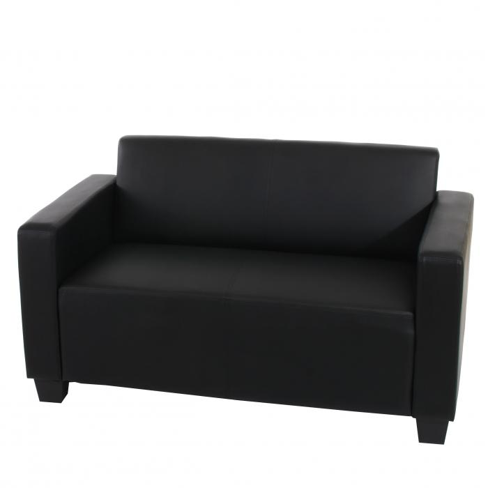 2er sofa couch lyon loungesofa kunstleder schwarz. Black Bedroom Furniture Sets. Home Design Ideas