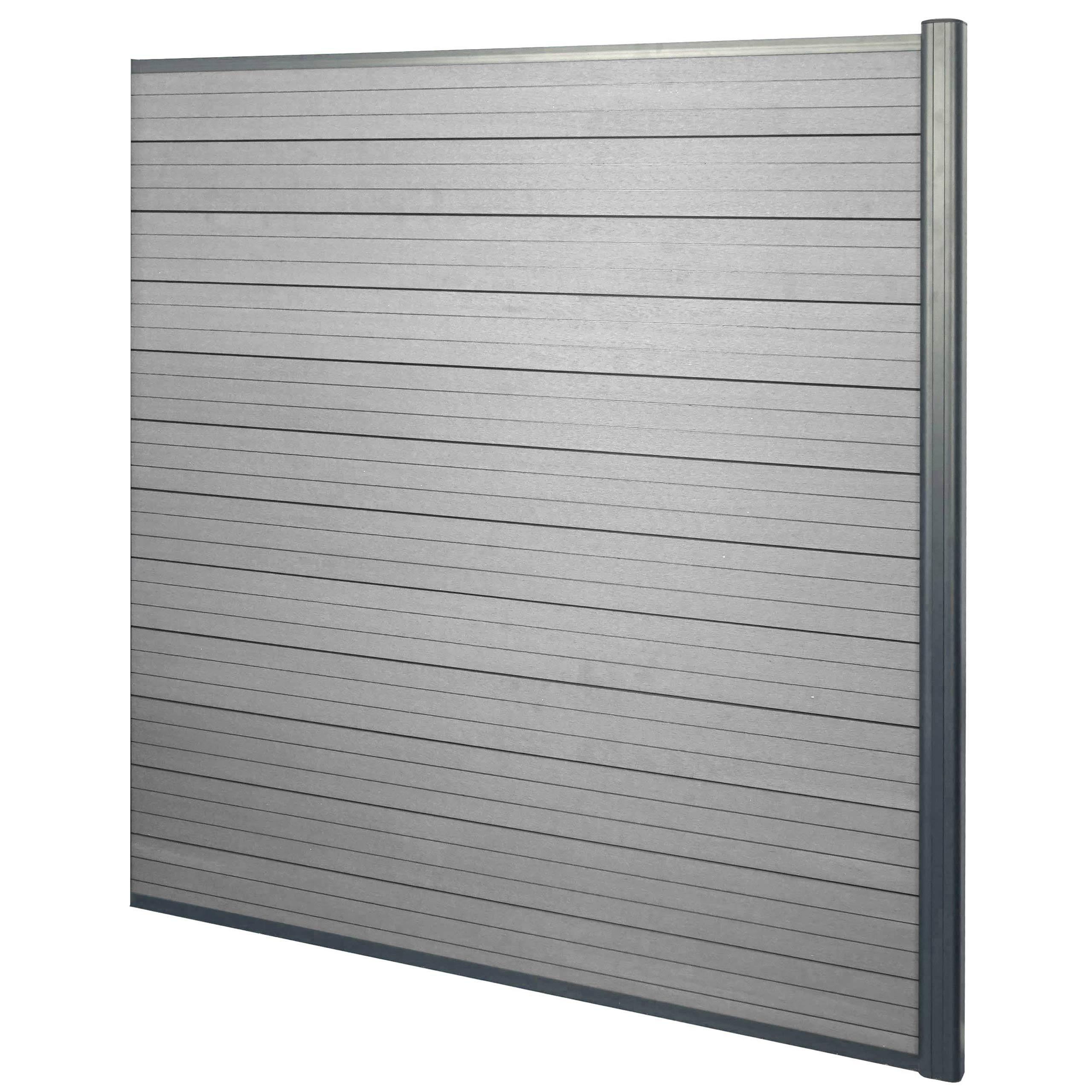 wpc sichtschutz sarthe windschutz zaun alu grau oder. Black Bedroom Furniture Sets. Home Design Ideas