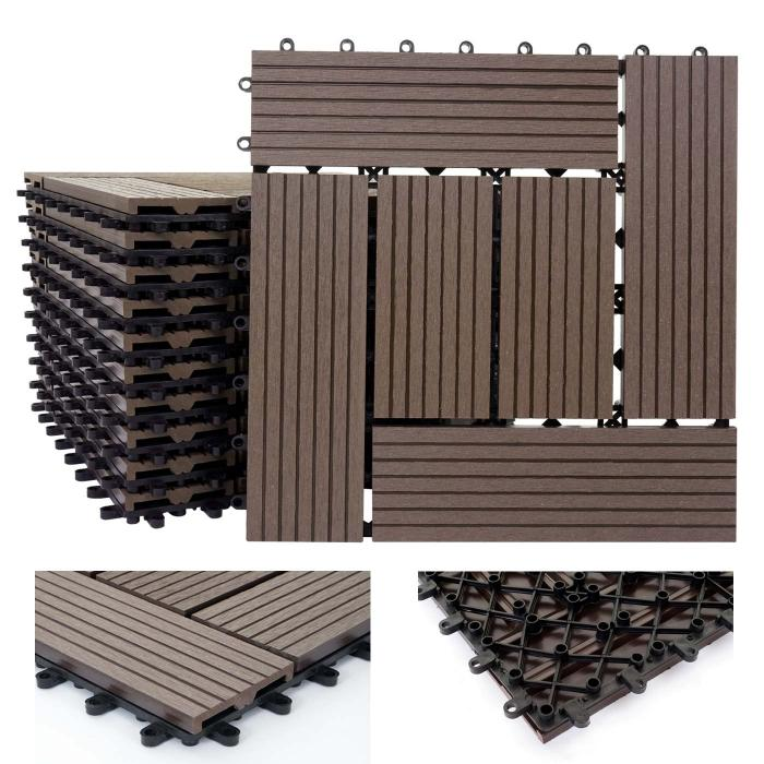 wpc holz fliese rhone bodenfliesen balkon terrasse 11 st ck je 30x30cm 1qm coffee versetzt. Black Bedroom Furniture Sets. Home Design Ideas
