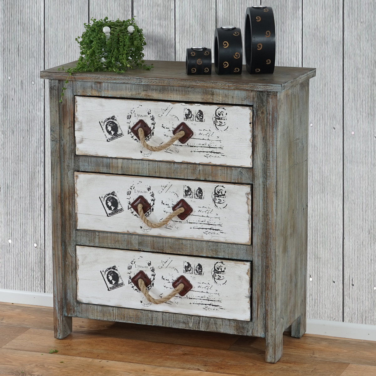 kommode porto schubladenkommode telefontisch schrank shabby look vintage. Black Bedroom Furniture Sets. Home Design Ideas