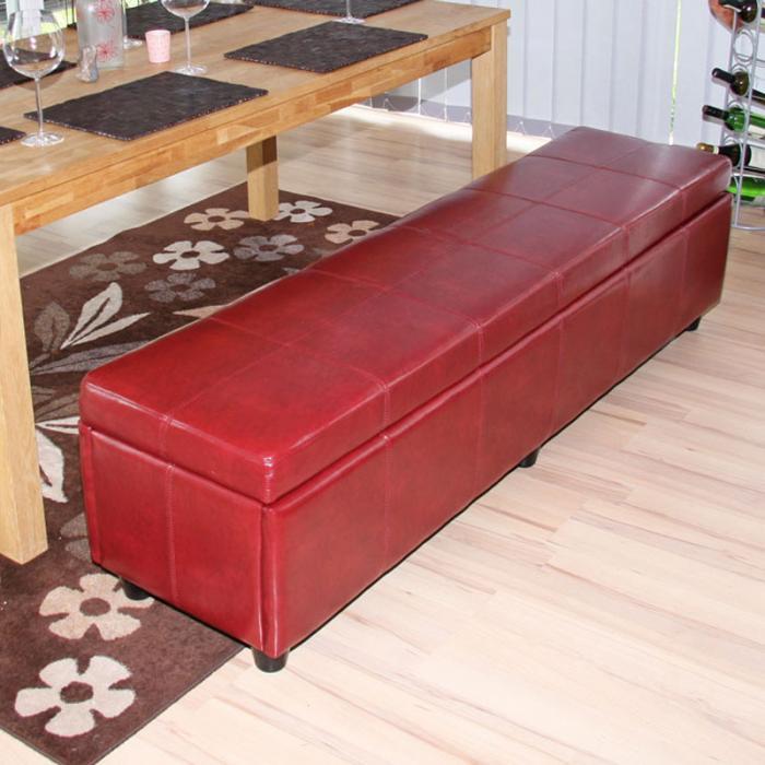 bank sitzbank mit aufbewahrung kriens xxl kunstleder 180x45x45cm rot. Black Bedroom Furniture Sets. Home Design Ideas