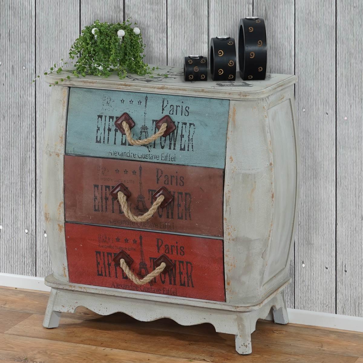 kommode aveiro sideboard schubladenschrank schrank shabby look vintage ebay. Black Bedroom Furniture Sets. Home Design Ideas