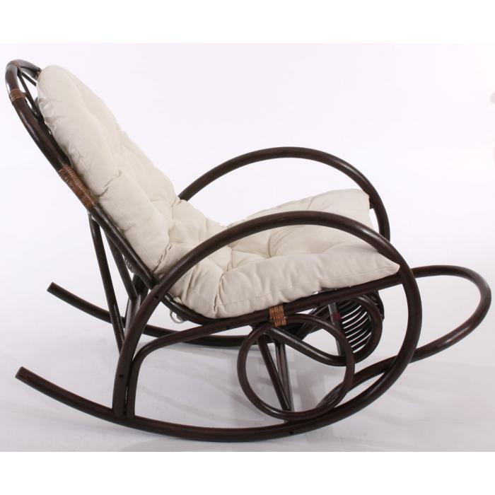 schaukelstuhl schwingsessel rattansessel derby braun mit wei er auflage. Black Bedroom Furniture Sets. Home Design Ideas