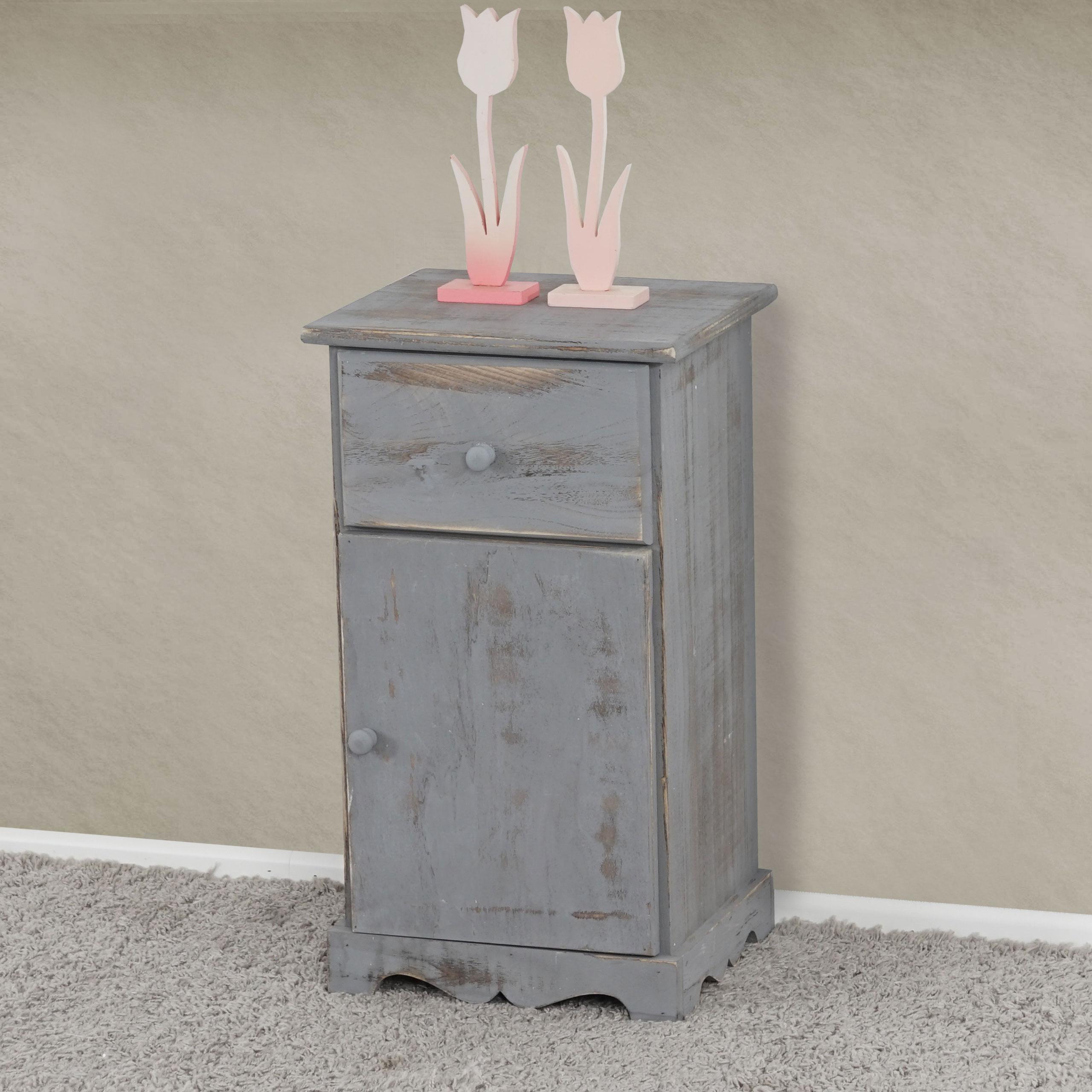 beistelltisch nachttisch telefontisch 63x35x29cm shabby look vintage grau ebay. Black Bedroom Furniture Sets. Home Design Ideas
