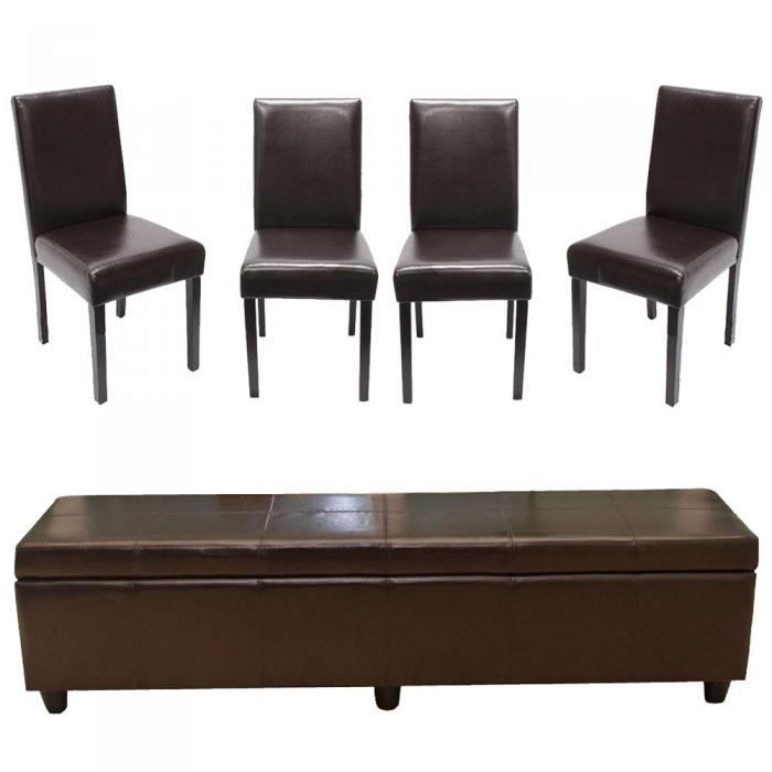 garnitur sitzgruppe bank mit aufbewahrung kriens xxl 4 st hle littau kunstleder leder braun. Black Bedroom Furniture Sets. Home Design Ideas