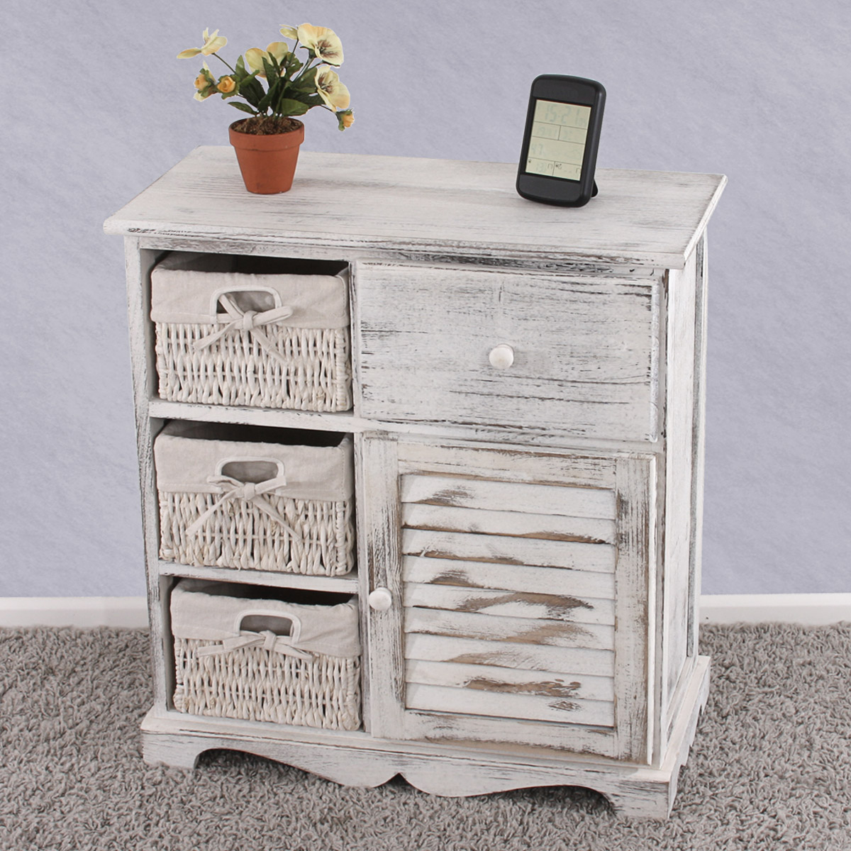 kommode schrank mit 3 k rben 63x60x30cm shabby look vintage wei ebay. Black Bedroom Furniture Sets. Home Design Ideas