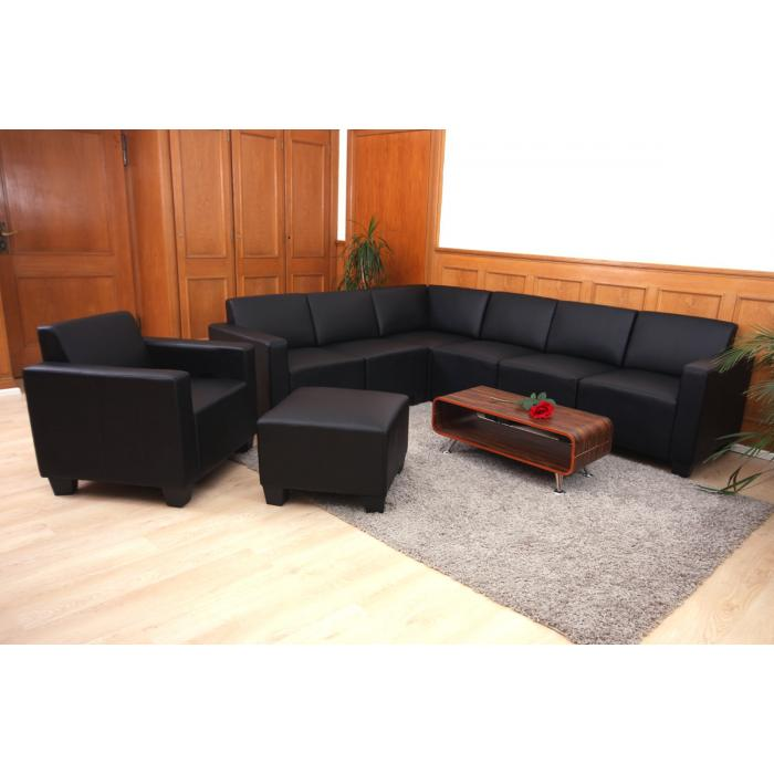 modular sofa system couch garnitur lyon 6 2 kunstleder schwarz. Black Bedroom Furniture Sets. Home Design Ideas