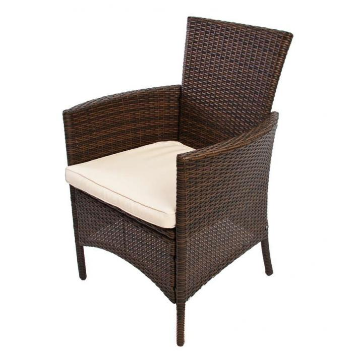 gartensessel korbsessel romv poly rattan alu 85 5x61x60 cm braun meliert. Black Bedroom Furniture Sets. Home Design Ideas