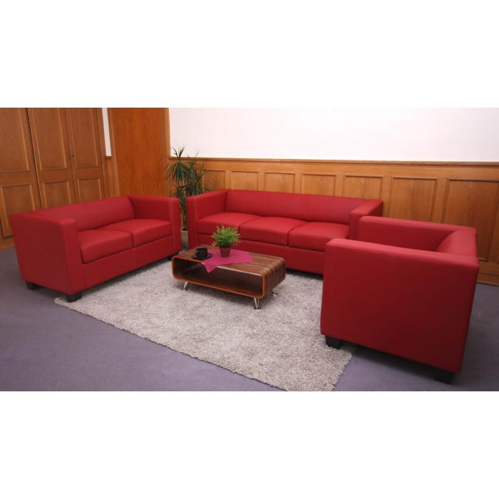 2er sofa couch loungesofa lille kunstleder rot. Black Bedroom Furniture Sets. Home Design Ideas