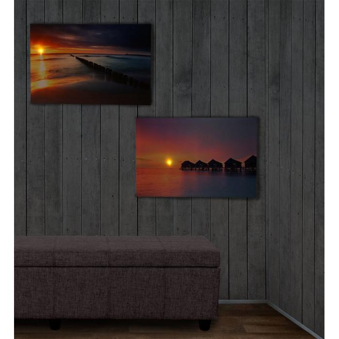 2x led bild mit beleuchtung leinwandbild leuchtbild wandbild 60x40cm timer vacancy. Black Bedroom Furniture Sets. Home Design Ideas