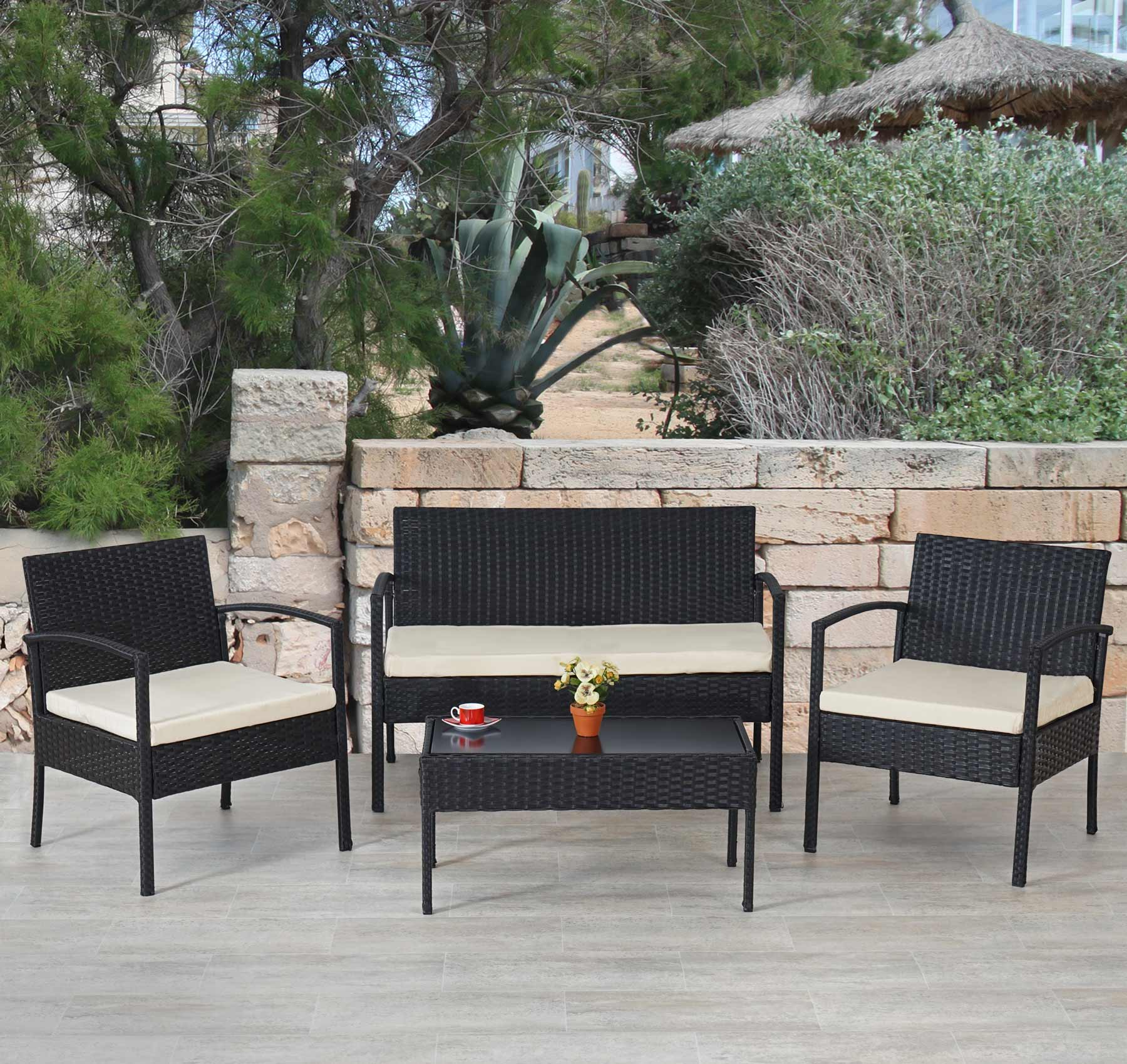 Salottino set da esterno alicante polyrattan con cuscini for Salottino da esterno offerte