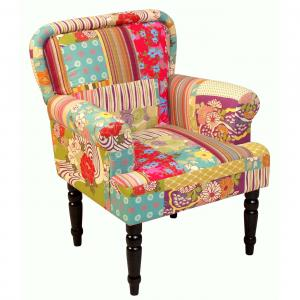 Polstersessel H145, Sessel Lungesessel Clubsessel, Textil, Patchworkoptik, 88x71x67cm