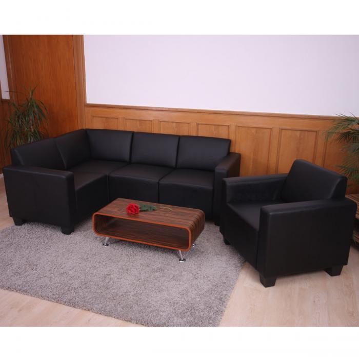 modular sofa system couch garnitur lyon 4 1 kunstleder schwarz. Black Bedroom Furniture Sets. Home Design Ideas