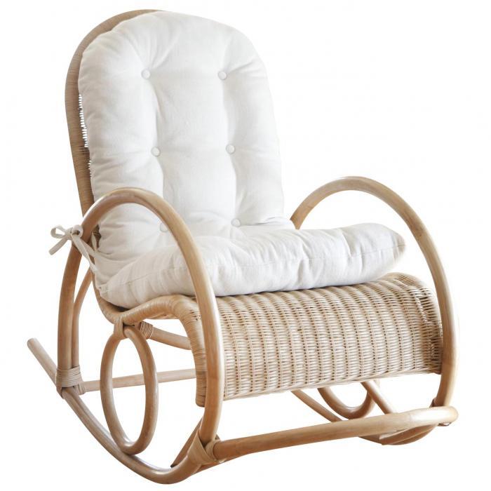 schaukelstuhl h136 schwingsessel relaxsessel rattan inkl sitzkissen 100x60x116cm beige. Black Bedroom Furniture Sets. Home Design Ideas