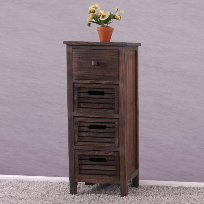 schrank kommode 74x30x25cm shabby look vintage braun. Black Bedroom Furniture Sets. Home Design Ideas