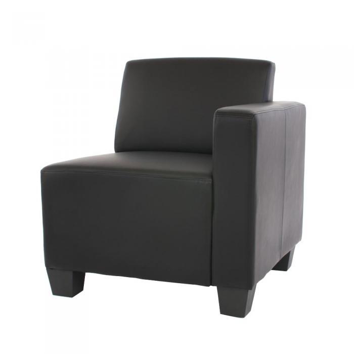 modular seitenteil rechts sessel mit armlehne lyon kunstleder schwarz. Black Bedroom Furniture Sets. Home Design Ideas