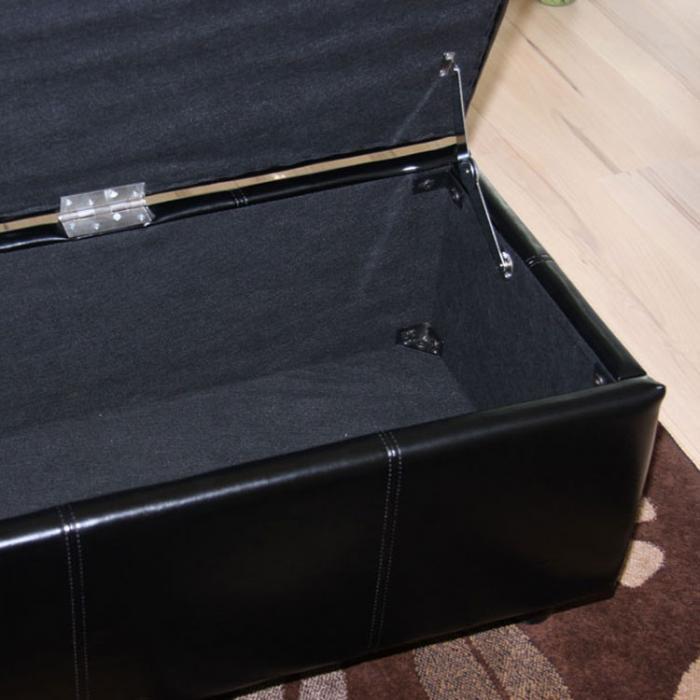 bank sitzbank mit aufbewahrung kriens xxl kunstleder 180x45x45cm schwarz. Black Bedroom Furniture Sets. Home Design Ideas
