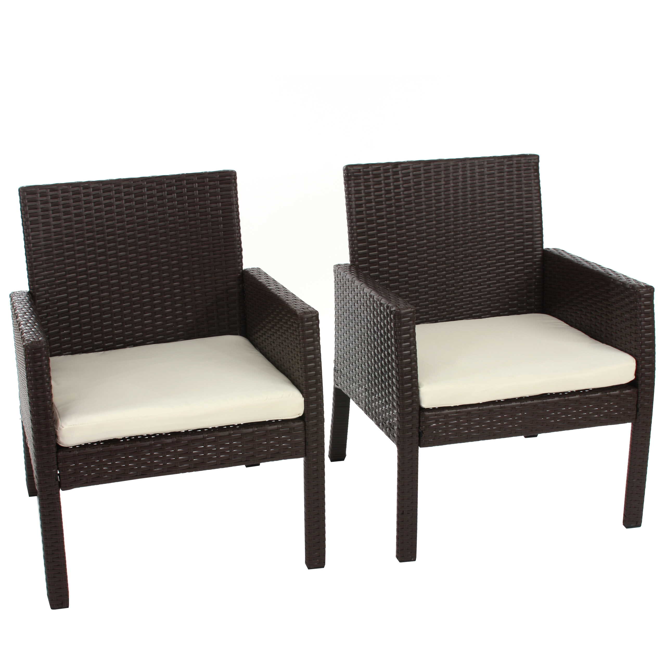 2x poly rattan sessel gartensessel porto inkl sitzkissen braun meliert ebay. Black Bedroom Furniture Sets. Home Design Ideas