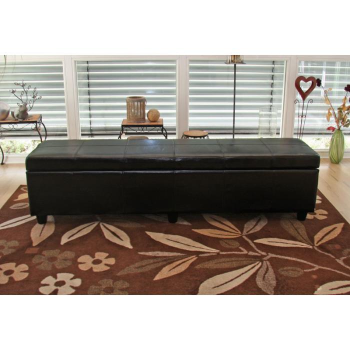 bank sitzbank mit aufbewahrung kriens xxl leder kunstleder 180x45x45cm schwarz. Black Bedroom Furniture Sets. Home Design Ideas