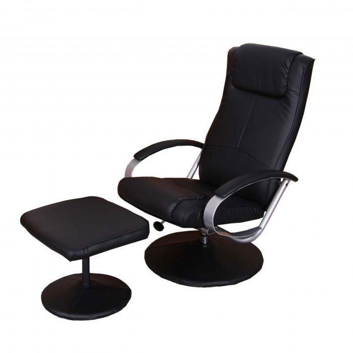 Relaxliege relaxsessel fernsehsessel n44 mit hocker schwarz for Fernsehsessel mit hocker