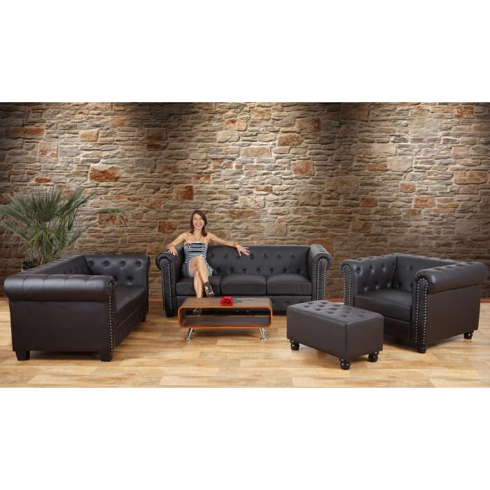 Luxus Sessel Loungesessel Relaxsessel Chesterfield Kunstleder ~ eckige F��e, schwarz mit Ottomane